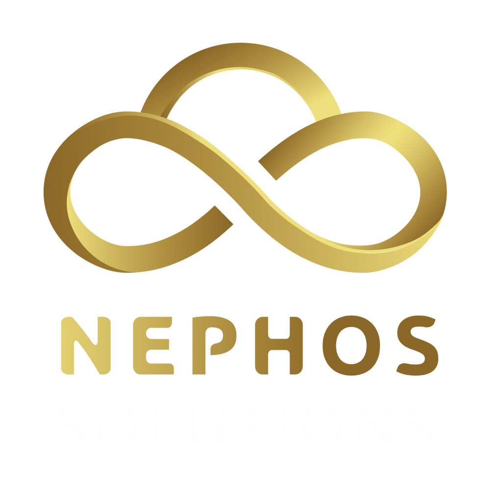The Nephos Solutions logo, a gold cloud design with Nephos Solutions written below.